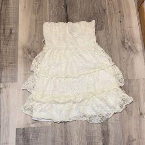 Cream layered mini dress